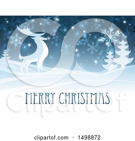 Clipart of a Merry Christmas Greeting with a Reindeer in the Snow - Royalty Free Vector Illustration by AtStockIllustration