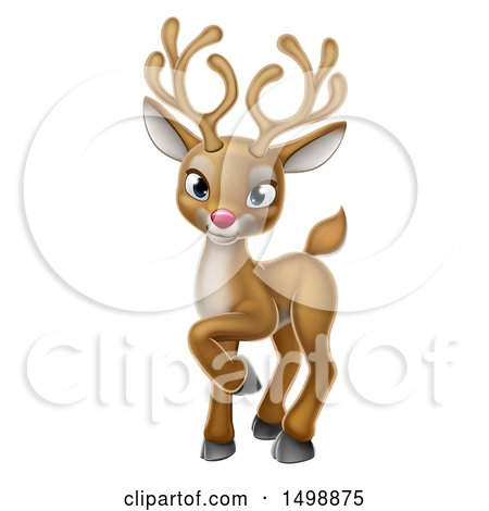 Clipart of a Cute Red Nosed Christmas Reindeer - Royalty Free Vector Illustration by AtStockIllustration