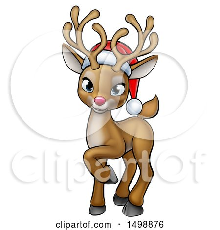 Clipart of a Cute Red Nosed Christmas Reindeer Wearing a Santa Hat - Royalty Free Vector Illustration by AtStockIllustration