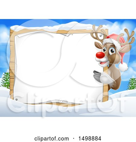 Clipart of a Red Nosed Christmas Reindeer with a Blank Sign in a Winter Landscape - Royalty Free Vector Illustration by AtStockIllustration