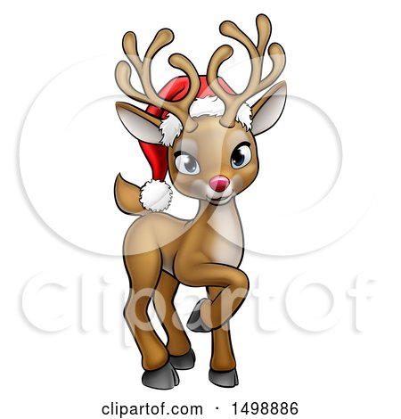 af890ed6ab843 Clipart of a Cute Red Nosed Reindeer Wearing a Christmas Santa Hat -  Royalty Free Vector