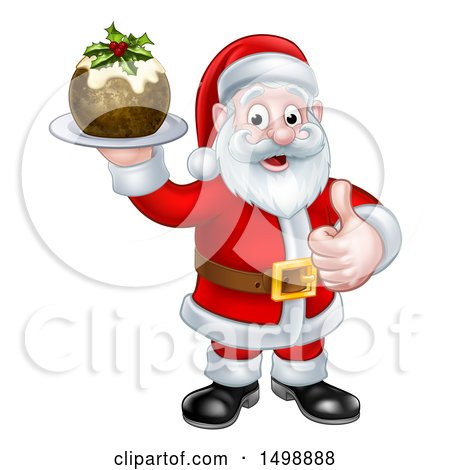 Clipart of a Santa Claus Giving a Thumb up and Holding a Christmas Pudding - Royalty Free Vector Illustration by AtStockIllustration