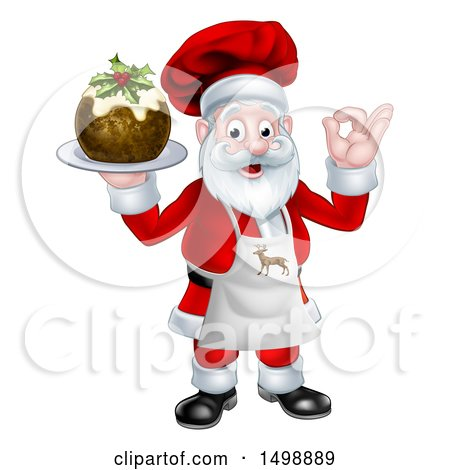 Clipart of a Chef Santa Claus Holding a Christmas Pudding Dessert and Gesturing Perfect - Royalty Free Vector Illustration by AtStockIllustration