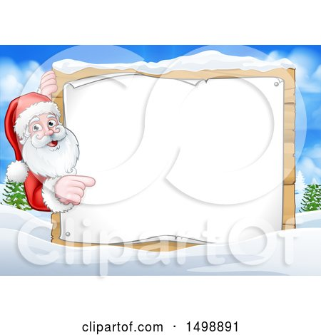 Clipart of a Christmas Santa Claus with a Blank Sign in a Snowy Landscape - Royalty Free Vector Illustration by AtStockIllustration