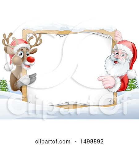 Clipart of a Christmas Santa Claus and Reindeer with a Blank Sign in a Snowy Landscape - Royalty Free Vector Illustration by AtStockIllustration