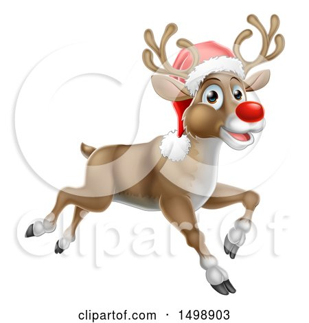 Clipart of a Red Nosed Christmas Reindeer Running or Flying - Royalty Free Vector Illustration by AtStockIllustration