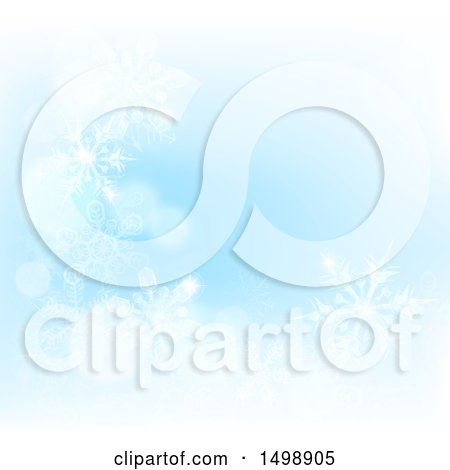 Clipart of a Background of Winter Snowflakes and Flares on Blue - Royalty Free Vector Illustration by AtStockIllustration
