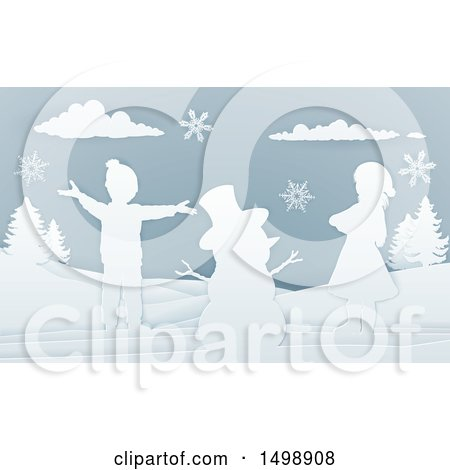 Clipart of a Paper Art Styled Snowman and Children in the Snow - Royalty Free Vector Illustration by AtStockIllustration