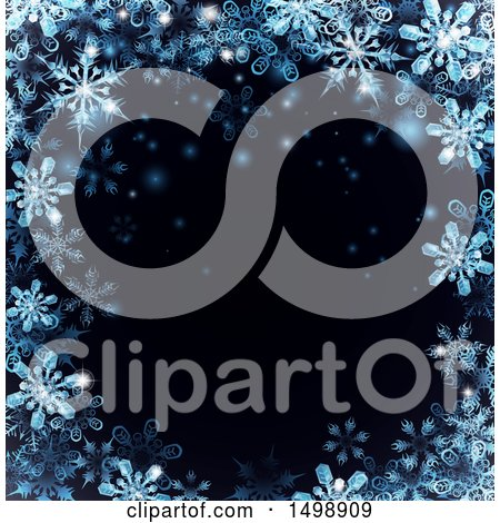 Clipart of a Border of Blue Snowflakes over Black - Royalty Free Vector Illustration by AtStockIllustration