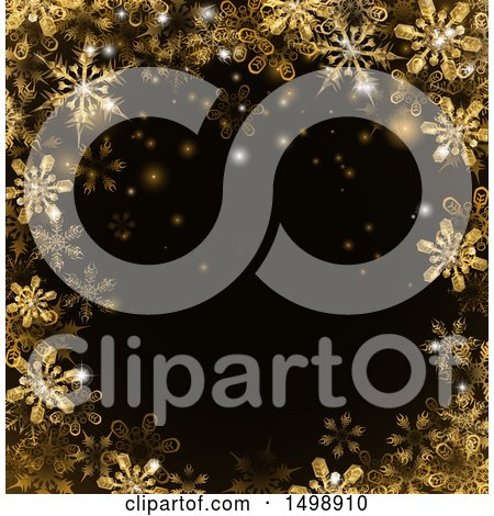 Clipart of a Border of Gold Snowflakes over Black - Royalty Free Vector Illustration by AtStockIllustration