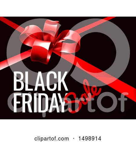 Clipart of a Red Gift Bow and Black Friday Sale Text on Black - Royalty Free Vector Illustration by AtStockIllustration