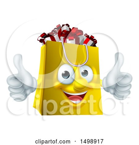 Clipart of a Shopping Bag Mascot Full of Christmas Gifts - Royalty Free Vector Illustration by AtStockIllustration