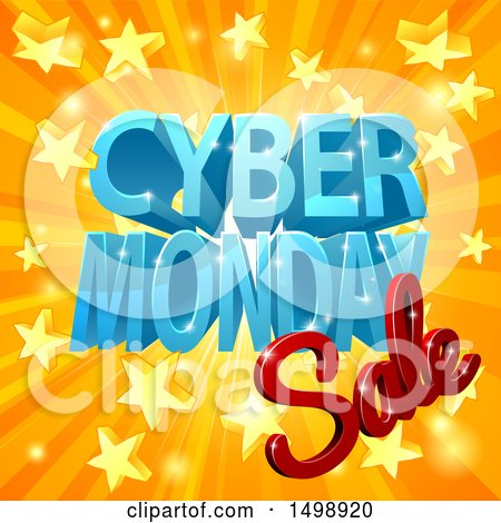 Clipart of a 3d Cyber Monday Sale Design in Blue and Red over a Star Burst - Royalty Free Vector Illustration by AtStockIllustration