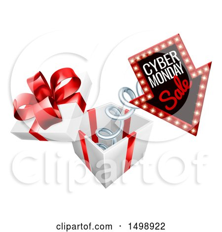 Clipart of a 3d Marquee Arrow Sign with Cyber Monday Sale Text Springing out of a Gift Box - Royalty Free Vector Illustration by AtStockIllustration