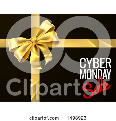 Clipart of a Gold Gift Bow with Cyber Monday Sale Text on Black - Royalty Free Vector Illustration by AtStockIllustration