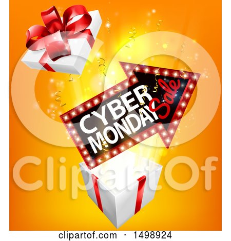 Clipart of a 3d Marquee Arrow Sign with Cyber Monday Sale Text over a Gift Box - Royalty Free Vector Illustration by AtStockIllustration