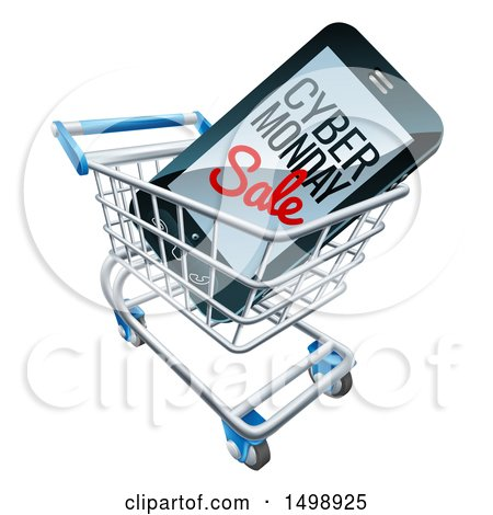 Clipart of a 3d Smart Phone with Cyber Monday Sale Text on the Screen in a Shopping Cart - Royalty Free Vector Illustration by AtStockIllustration