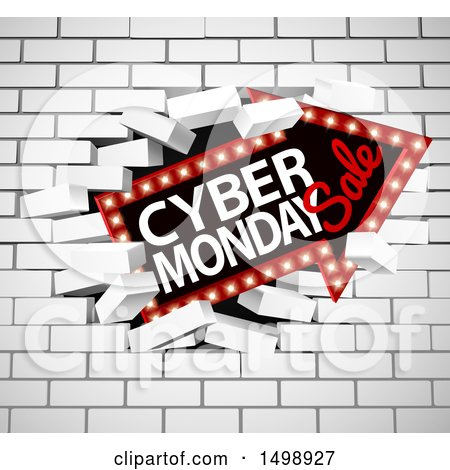 Clipart of a 3d Marquee Arrow Sign with Cyber Monday Sale Text Breaking Through a White Brick Wall - Royalty Free Vector Illustration by AtStockIllustration