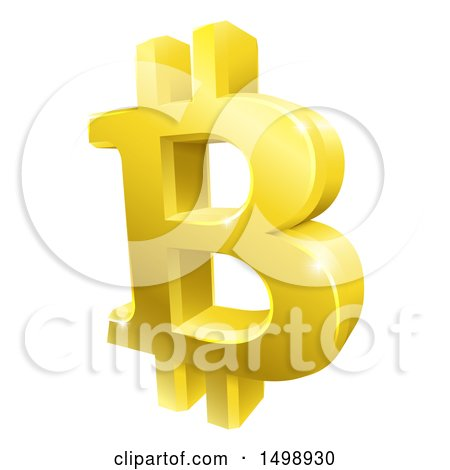 Clipart of a 3d Gold Bitcoin Currency Symbol - Royalty Free Vector Illustration by AtStockIllustration