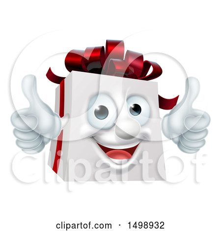Clipart of a 3d Christmas Gift Present Mascot Giving Two Thumbs up - Royalty Free Vector Illustration by AtStockIllustration