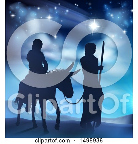 Clipart of Virgin Mary on a Donkey and Joseph Silhouetted Under the Star of David - Royalty Free Vector Illustration by AtStockIllustration