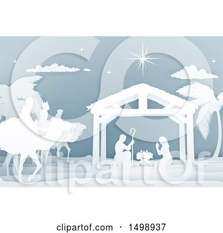 Clipart of a Paper Art Styled Nativity Scene with the Wise Men and Manger - Royalty Free Vector Illustration by AtStockIllustration