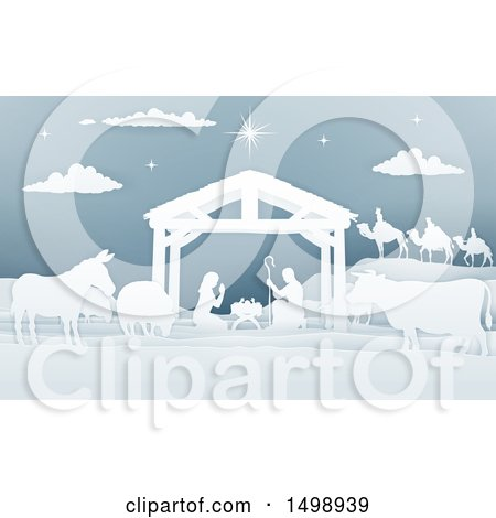 Clipart of a Paper Art Styled Nativity Scene with the Wise Men, Animals and Manger - Royalty Free Vector Illustration by AtStockIllustration