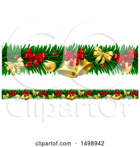Clipart of Christmas Garlands with Bells, Bauble Ornaments and Bows - Royalty Free Vector Illustration by AtStockIllustration