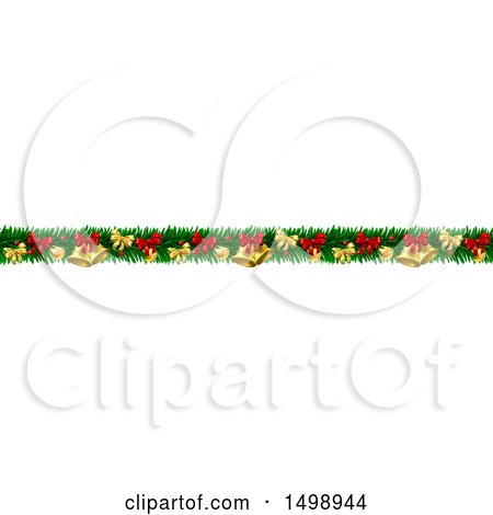 Clipart of a Christmas Garland with Bells, Bauble Ornaments and Bows - Royalty Free Vector Illustration by AtStockIllustration