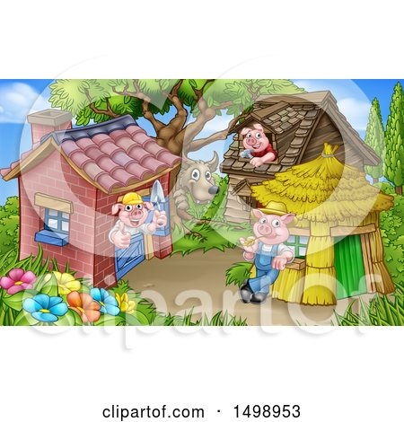 Clipart of a Wolf and Piggies from the Three Little Pigs Fairy Tale, at Their Brick, Wood and Straw Houses - Royalty Free Vector Illustration by AtStockIllustration