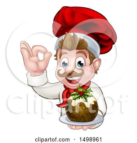 Clipart of a Happy White Male Chef Gesturing Ok and Holding a Christmas Pudding - Royalty Free Vector Illustration by AtStockIllustration