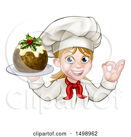 Clipart of a White Female Chef Gesturing Ok and Holding a Christmas Pudding - Royalty Free Vector Illustration by AtStockIllustration