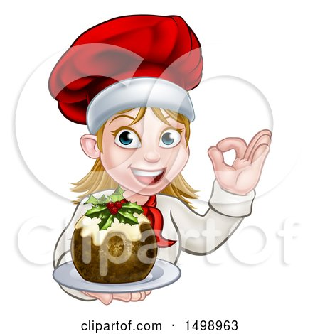 Clipart of a Happy White Female Chef Gesturing Ok and Holding a Christmas Pudding - Royalty Free Vector Illustration by AtStockIllustration