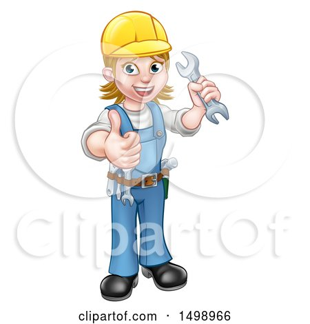 Clipart of a Full Length Happy White Female Mechanic Wearing a Hard Hat, Holding up a Wrench and Giving a Thumb up - Royalty Free Vector Illustration by AtStockIllustration