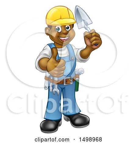 Clipart of a Full Length Black Male Mason Worker Holding a Trowel and Giving a Thumb up - Royalty Free Vector Illustration by AtStockIllustration