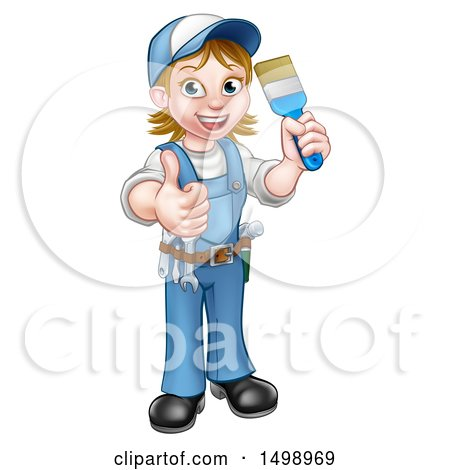 Clipart of a Cartoon Full Length Happy White Female Painter Holding up a Brush and Thumb - Royalty Free Vector Illustration by AtStockIllustration