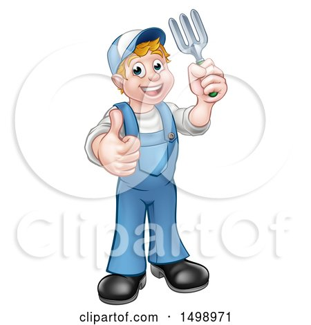 Clipart of a Full Length White Male Gardener Holding a Garden Fork and Giving a Thumb up - Royalty Free Vector Illustration by AtStockIllustration