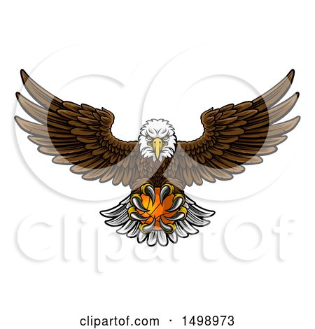 Clipart of a Cartoon Swooping American Bald Eagle with a Basketball in His Talons - Royalty Free Vector Illustration by AtStockIllustration