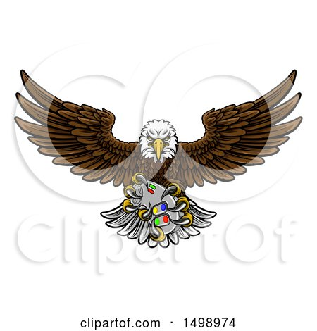 Clipart of a Cartoon Swooping American Bald Eagle with a Video Game Controller in Its Claws - Royalty Free Vector Illustration by AtStockIllustration