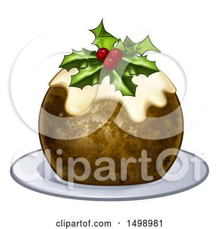 Clipart of a 3d Christmas Pudding Cake with Holly and Berries, on a White Plate - Royalty Free Vector Illustration by AtStockIllustration