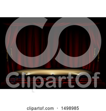 Clipart of a Theater Stage with Foot Lighting - Royalty Free Vector Illustration by AtStockIllustration