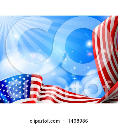 Clipart of a Rippling American Flag Under Blue Sky with Rays of Sunshine - Royalty Free Vector Illustration by AtStockIllustration