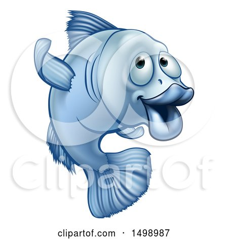 Clipart of a Cartoon Blue Fish Gesturing to Follow - Royalty Free Vector Illustration by AtStockIllustration