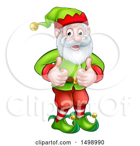 Clipart of a Happy Garden Gnome or Christmas Elf Giving Two Thumbs up - Royalty Free Vector Illustration by AtStockIllustration