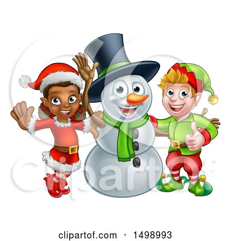 Clipart of a Snowman Waving with Two Christmas Elves - Royalty Free Vector Illustration by AtStockIllustration