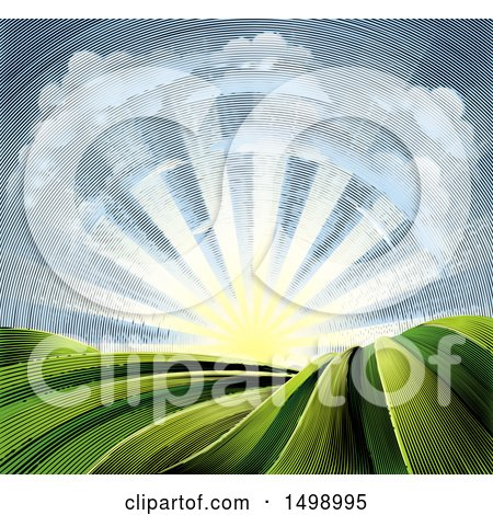 Clipart of a Woodcut Cloud and Sunrise Sky over Farmland - Royalty Free Vector Illustration by AtStockIllustration
