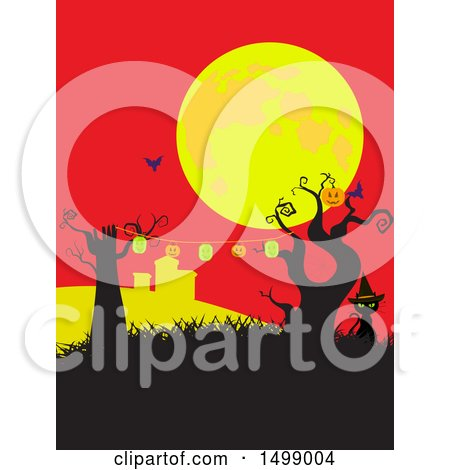 Clipart of a Witch Cat with a Halloween Party Banner Under a Full Moon - Royalty Free Vector Illustration by elaineitalia