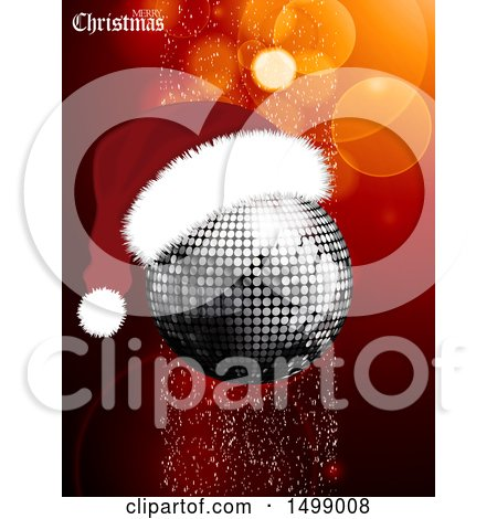 Clipart of a Merry Christmas Greeting and Disco Ball Wearing a Santa Hat - Royalty Free Vector Illustration by elaineitalia