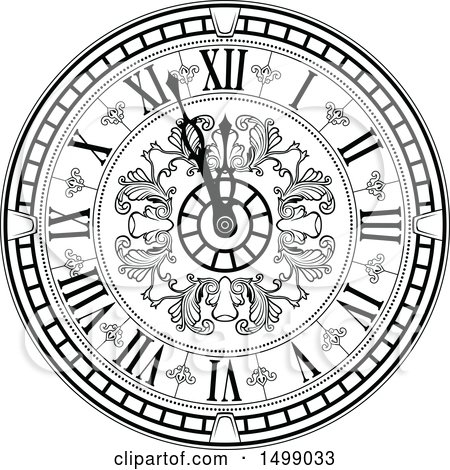 Clipart Of A Vintage Clock Face In Black And White
