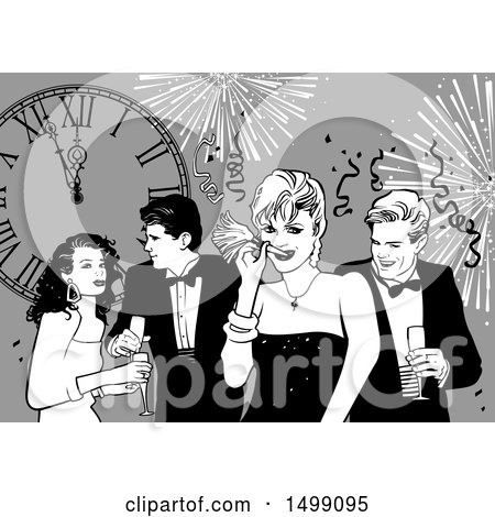 Clipart of a Group of People at a New Year Party - Royalty Free Vector Illustration by dero